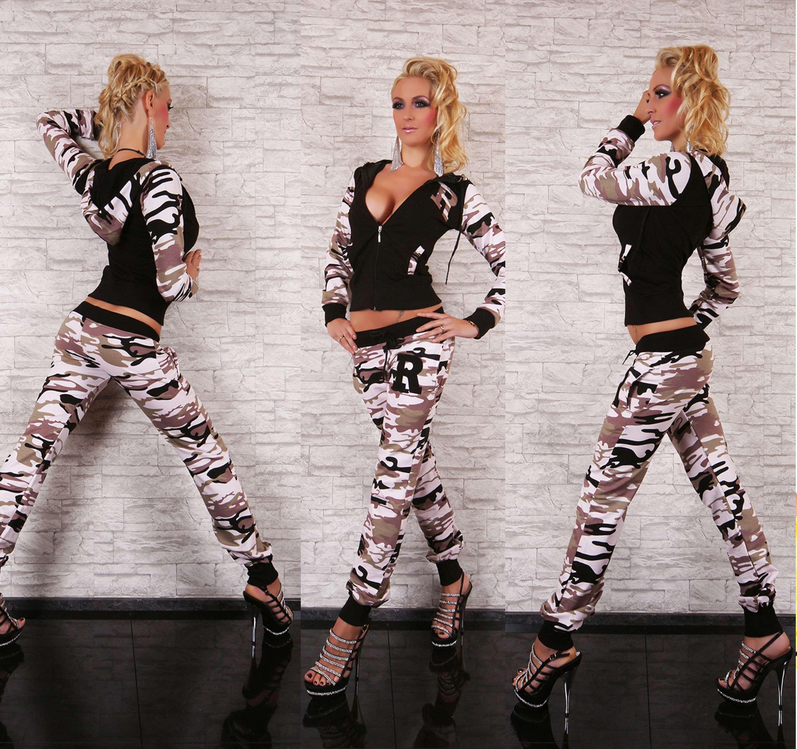 damen freizeit anzug 2 teiler jogging hausanzug camouflage gr 42 xl neu ebay. Black Bedroom Furniture Sets. Home Design Ideas