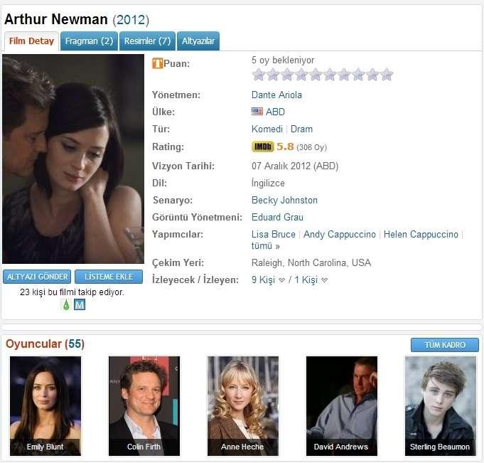 Arthur Newman - 2012 DVDRip x264 - Türkçe Altyazılı Tek Link indir