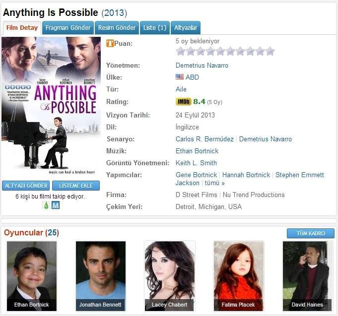 Anything Is Possible - 2013 DVDRip x264 - Türkçe Altyazılı Tek Link indir